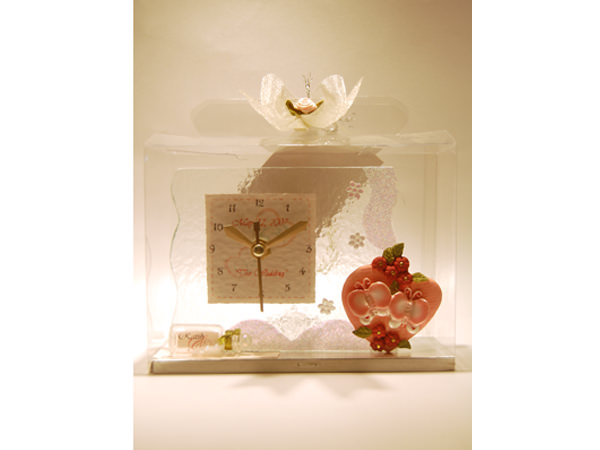 Lovely Butterfly glass clock,marco mario souvenir, wedding souvenirs, souvenir pernikahan