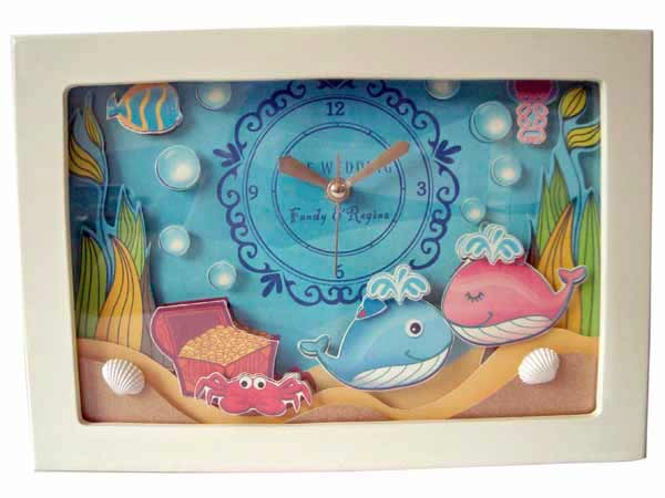 Ocean Love Papertole Clock,marco mario souvenir, wedding souvenirs, souvenir pernikahan
