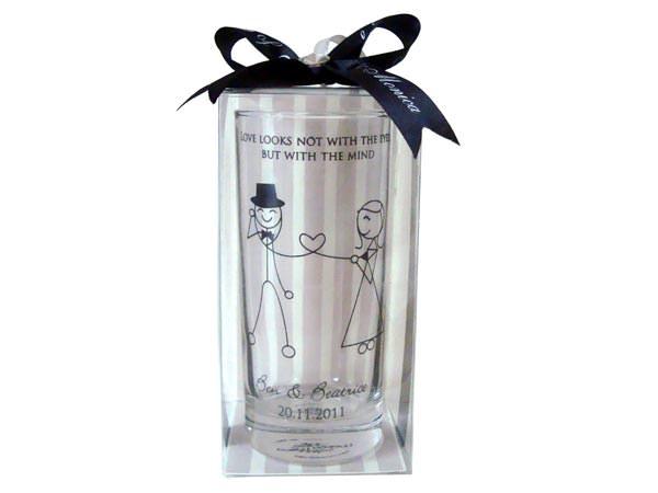 Personalized Drinking Glass,marco mario souvenir, wedding souvenirs, souvenir pernikahan