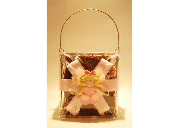 Little Girl Towel in Gold Basket,marco mario souvenir, wedding souvenirs, souvenir pernikahan