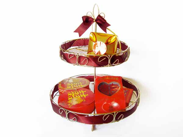 Red Bow Stacking Trays,marco mario souvenir, wedding souvenirs, souvenir pernikahan