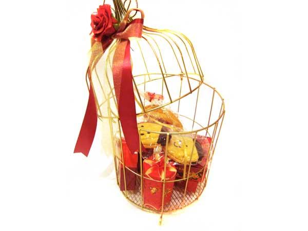 Gold Cage with Red Rose,marco mario souvenir, wedding souvenirs, souvenir pernikahan