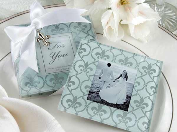 Fleur de Lis Frosted Glass Photo Coasters,,marco mario souvenir, wedding souvenirs, souvenir pernikahan surabaya indonesia, wedding favors, souvenir ideas, royal wedding souvenirs