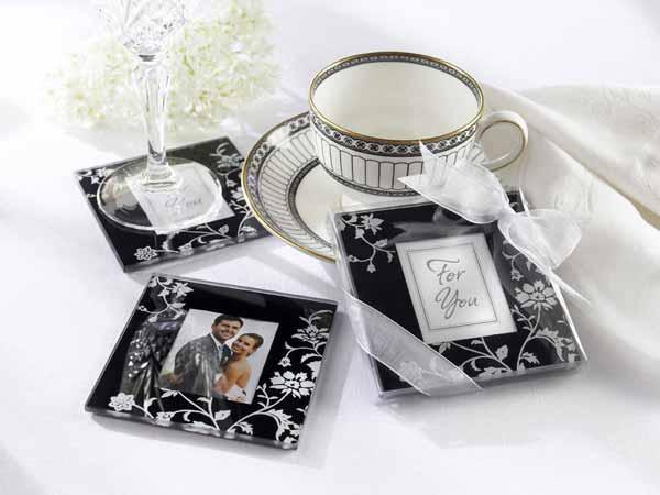 Elegant Black and White Glass Photo coasters,,marco mario souvenir, wedding souvenirs, souvenir pernikahan surabaya indonesia, wedding favors, souvenir ideas, royal wedding souvenirs