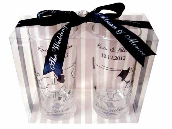 Personalized Drinking Glass set of 2,marco mario souvenir, wedding souvenirs, souvenir pernikahan surabaya indonesia, wedding favors, souvenir ideas, royal wedding souvenirs