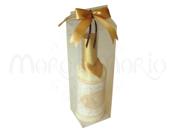 Wine Bottle Ivory Towel,marco mario souvenir, wedding souvenirs, souvenir pernikahan surabaya indonesia, wedding favors, souvenir ideas, royal wedding souvenirs