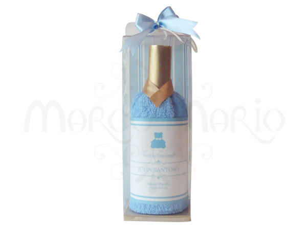 Blue Wine Bottle Towel,marco mario souvenir, wedding souvenirs, souvenir pernikahan