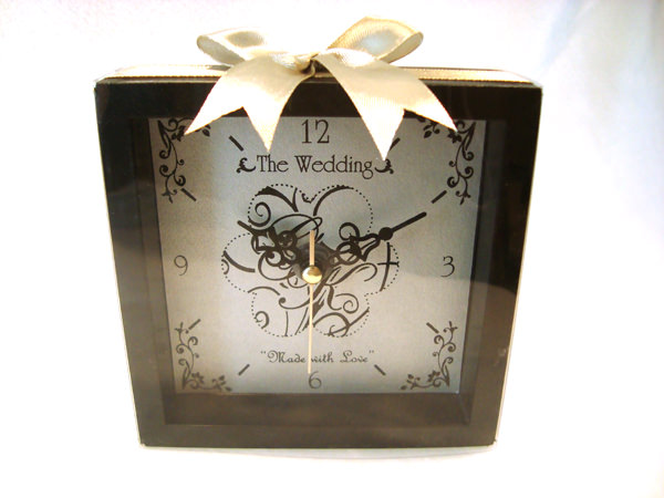 Classic Wooden Square Clock,marco mario souvenir, wedding souvenirs, souvenir pernikahan