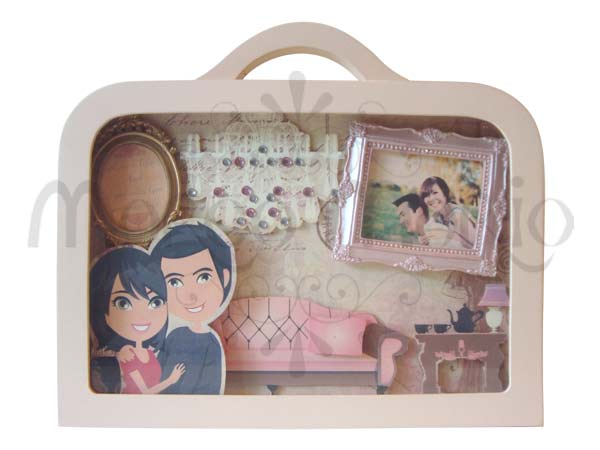 Customized Engagement Suitcase,marco mario souvenir, wedding souvenirs, souvenir pernikahan