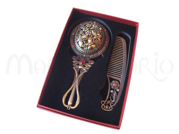 Bronze Mirror n Comb,marco mario souvenir, wedding souvenirs, souvenir pernikahan surabaya indonesia, wedding favors, souvenir ideas, royal wedding souvenirs