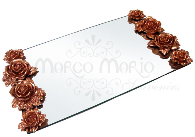 8 Gold Roses Engagement Tray,marco mario souvenir, wedding souvenirs, souvenir pernikahan