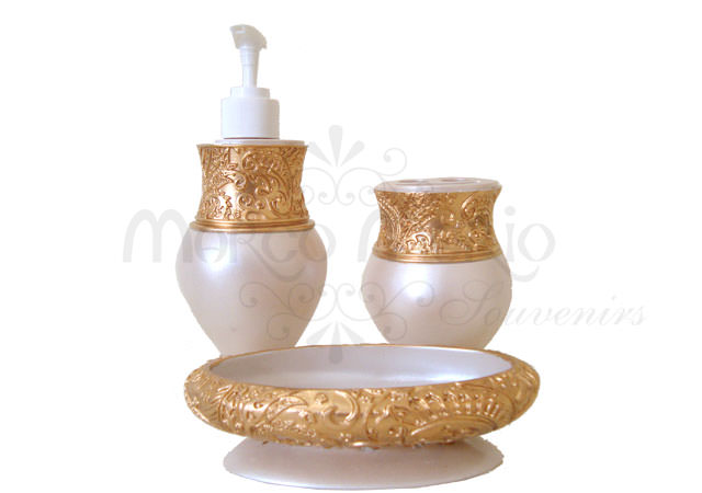 Pearly Gold Bathroom Set,marco mario souvenir, wedding souvenirs, souvenir pernikahan