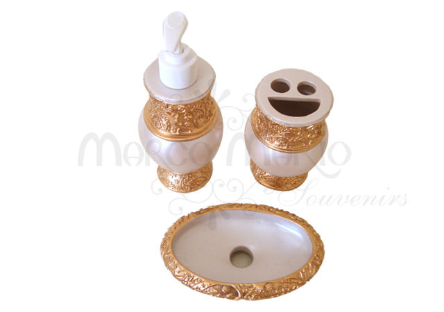 Pearly Gold Bathroom Set,marco mario souvenir, wedding souvenirs, souvenir pernikahan surabaya indonesia, wedding favors, souvenir ideas, royal wedding souvenirs