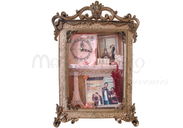 Customized Scrapbook Clock Frame,marco mario souvenir, wedding souvenirs, souvenir pernikahan