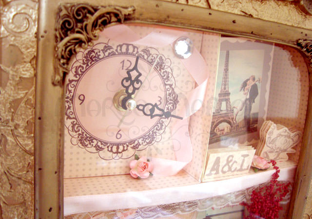 Customized Scrapbook Clock Frame,marco mario souvenir, wedding souvenirs, souvenir pernikahan surabaya indonesia, wedding favors, souvenir ideas, royal wedding souvenirs