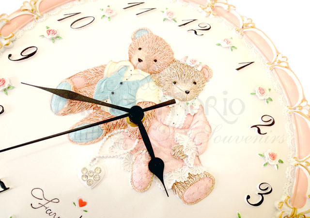 Bears Rounded Wall Clock,marco mario souvenir, wedding souvenirs, souvenir pernikahan surabaya indonesia, wedding favors, souvenir ideas, royal wedding souvenirs