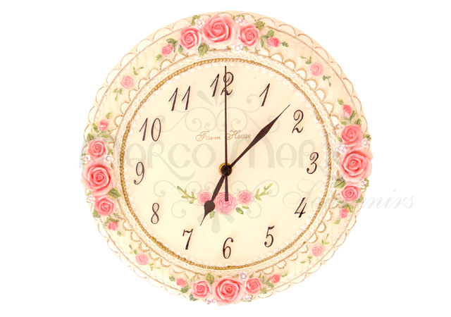 Pink Roses Wall Clock,marco mario souvenir, wedding souvenirs, souvenir pernikahan surabaya indonesia, wedding favors, souvenir ideas, royal wedding souvenirs