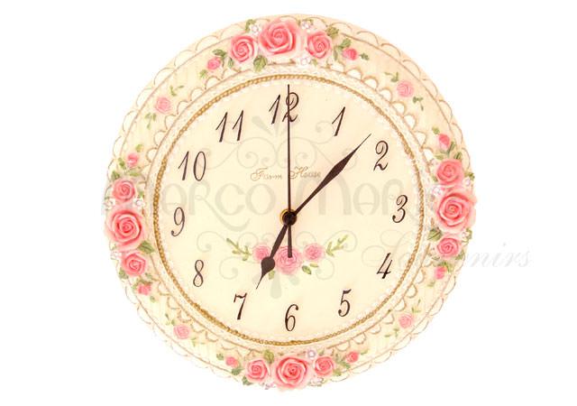Pink Roses Wall Clock,marco mario souvenir, wedding souvenirs, souvenir pernikahan