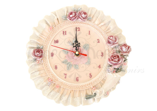 Floral rounded Wall Clock,marco mario souvenir, wedding souvenirs, souvenir pernikahan surabaya indonesia, wedding favors, souvenir ideas, royal wedding souvenirs