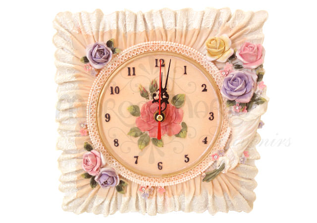 Floral Square Wall Clock,marco mario souvenir, wedding souvenirs, souvenir pernikahan