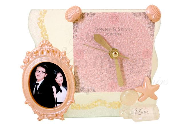 Seashells Clock Photo Frame,marco mario souvenir, wedding souvenirs, souvenir pernikahan