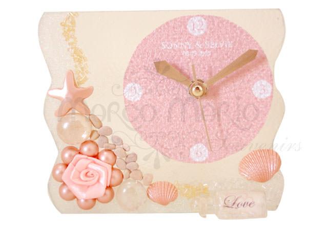 Seashells unique glass Clock,marco mario souvenir, wedding souvenirs, souvenir pernikahan
