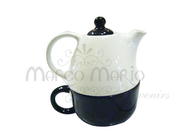 two levels black white teapot,marco mario souvenir, wedding souvenirs, souvenir pernikahan