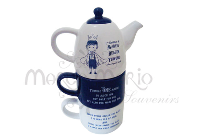 Three Levels Teapot Set,marco mario souvenir, wedding souvenirs, souvenir pernikahan