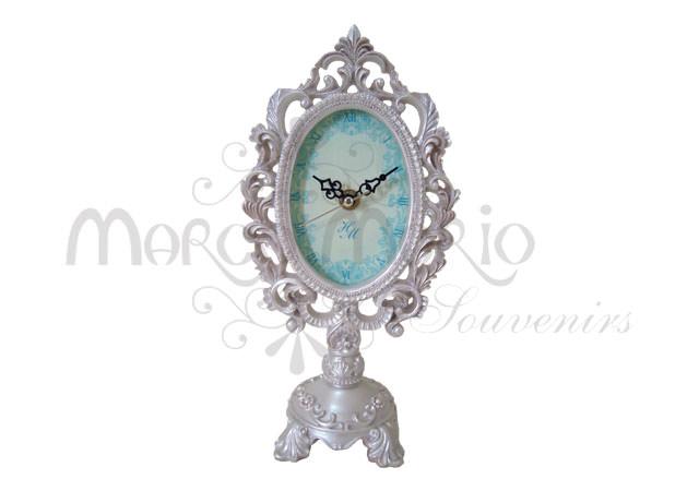 Pearly white oval clock,marco mario souvenir, wedding souvenirs, souvenir pernikahan