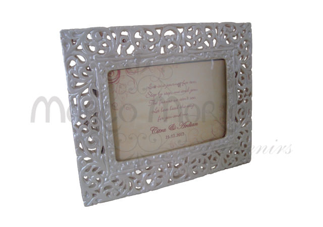 Pearly white rectangle frame,marco mario souvenir, wedding souvenirs, souvenir pernikahan