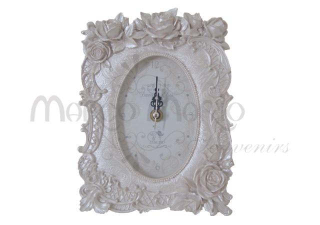 Pearly white roses clock,marco mario souvenir, wedding souvenirs, souvenir pernikahan