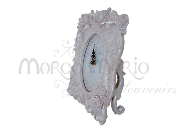 Pearly white roses clock,marco mario souvenir, wedding souvenirs, souvenir pernikahan surabaya indonesia, wedding favors, souvenir ideas, royal wedding souvenirs