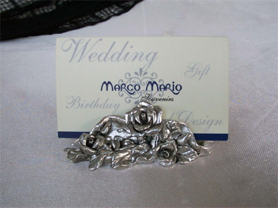 Silver Roses Card Holder,marco mario souvenir, wedding souvenirs, souvenir pernikahan