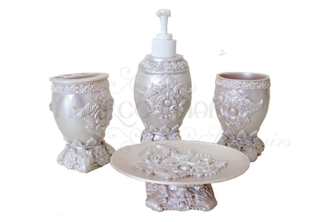 pearly white bathroom set,marco mario souvenir, wedding souvenirs, souvenir pernikahan