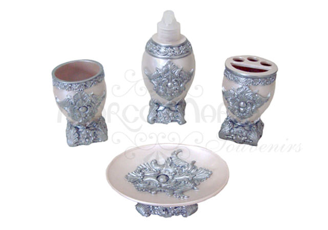 pearly silver bathroom set,marco mario souvenir, wedding souvenirs, souvenir pernikahan surabaya indonesia, wedding favors, souvenir ideas, royal wedding souvenirs