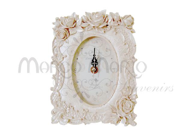 Roses pearly white clock,marco mario souvenir, wedding souvenirs, souvenir pernikahan