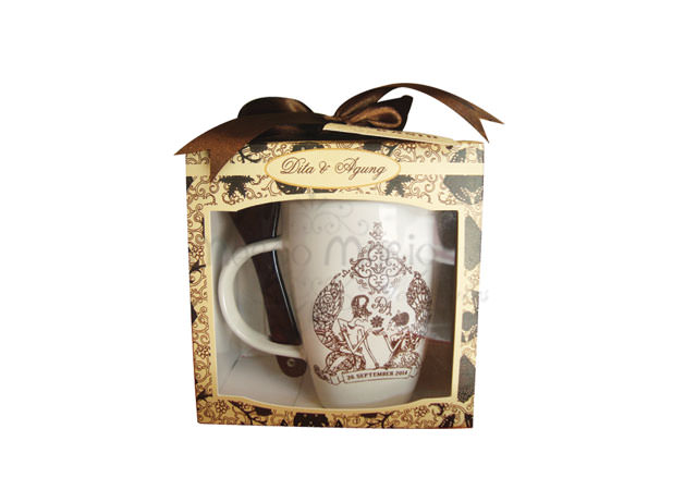 Traditional Mug and Spoon,marco mario souvenir, wedding souvenirs, souvenir pernikahan